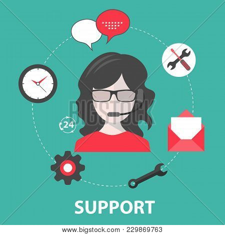 Live Support Icon. Business Customer Care Service. Concept For Contact Us, Support, Help, Phone Call