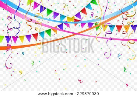 Festive Design. Border Of Colorful Bright Confetti And Flags Garlands Isolated On Transparent Backgr