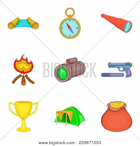 Hunting Area Icons Set. Cartoon Set Of 9 Hunting Area Vector Icons For Web Isolated On White Backgro