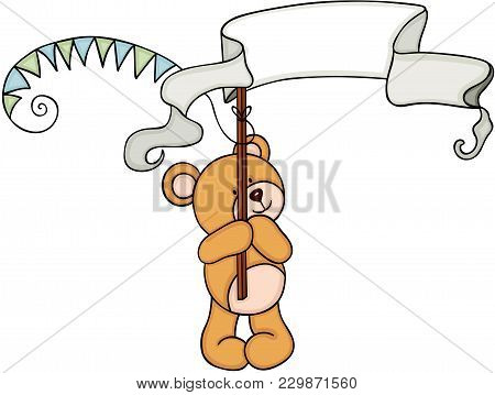 Scalable Vectorial Representing A Teddy Bear Holding A Party Banners, Element For Design, Illustrati