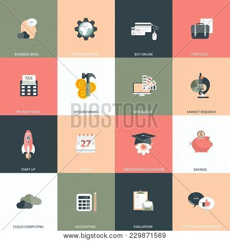 Business, Management And Finances Icon Set For Websites And Mobile Applications. Flat Vector Illustr