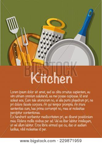 Kitchen Tools. The Concept Of Kitchen Tools. Kitchen Appliances. Knife, Kitchen Fork, Kitchen Spatul
