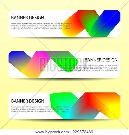 Abstract Vector Banners With Bright Wavy Lines Annual Report Design Templates Future Poster Template