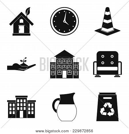 Manor Icons Set. Simple Set Of 9 Manor Vector Icons For Web Isolated On White Background