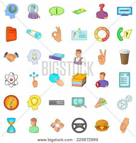 Business Quarter Icons Set. Cartoon Set Of 36 Business Quarter Vector Icons For Web Isolated On Whit