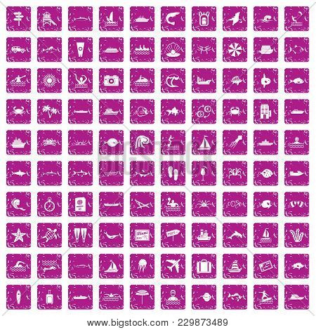 100 Ocean Icons Set In Grunge Style Pink Color Isolated On White Background Vector Illustration