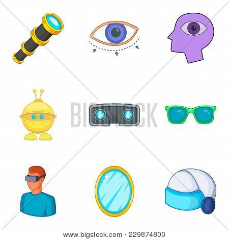 Virtual Device Icons Set. Cartoon Set Of 9 Virtual Device Vector Icons For Web Isolated On White Bac