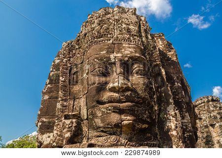 Close Up Of The Stone Buddah Faces In The Bayon Temple At Angkor Complex, Siem Reap, Cambodia