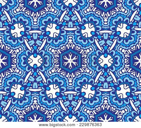 Damask Seamless Tiles Vector Design. Geometric Mosaic Tiled Star Snowflake Pattern Blue And White