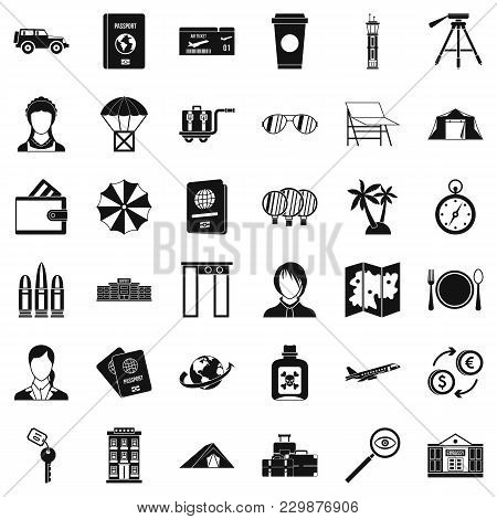 International Passport Icons Set. Simple Set Of 36 International Passport Vector Icons For Web Isola