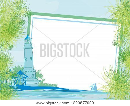 Lighthouse Seen From A Tiny Beach , Vector Illustration