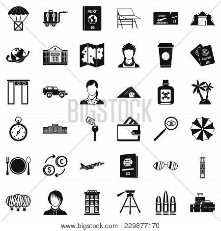 Travel Passport Icons Set. Simple Set Of 36 Travel Passport Vector Icons For Web Isolated On White B
