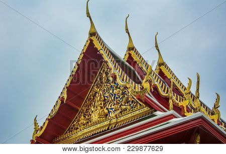 Golden Decorated Roof Of Temple Of Wat Arun In Thailand. Buddhism