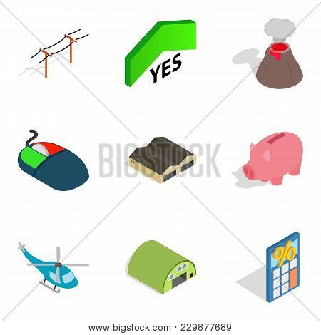 Aggression Icons Set. Isometric Set Of 9 Aggression Vector Icons For Web Isolated On White Backgroun