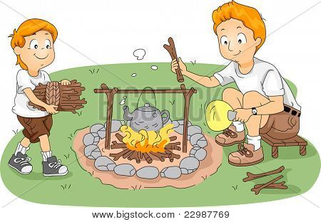 Illustration of Counselor/Father and Child Boiling Water at Camp