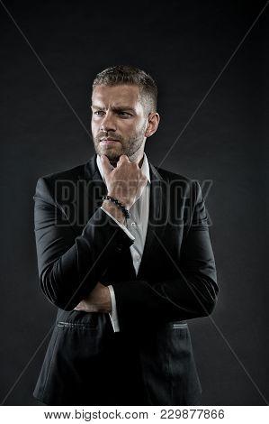 Director In Formal Jacket, Shirt On Dark Background, Fashion. Business, Entrepreneurship, Career. Bu