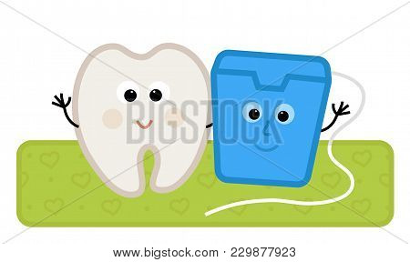 Cute Clip-art Of A Happy Tooth And Dental Floss Standing Together. Eps10