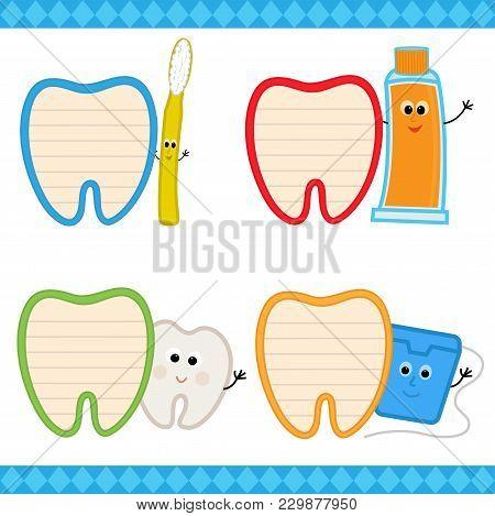 Set Of Four Cartoon Dental Signs. Eps10