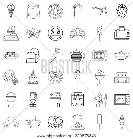 Caramel Icons Set. Outline Set Of 36 Caramel Vector Icons For Web Isolated On White Background