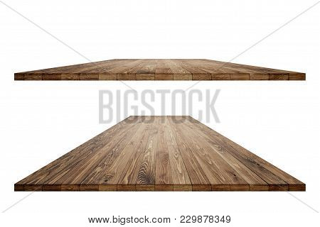 Empty Wooden Table With Clipping Path For Product Placement Or Montage On White Background. Wooden B