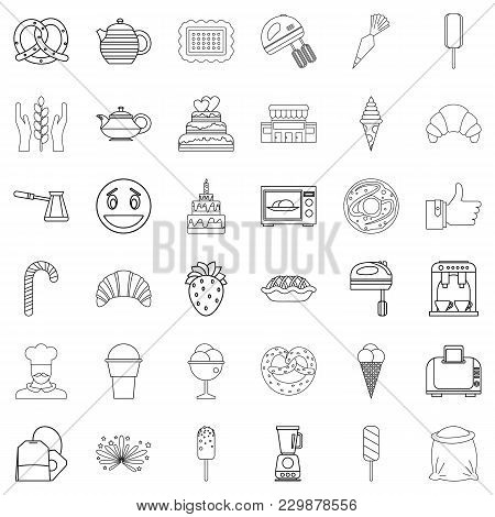 Burnt Sugar Icons Set. Outline Set Of 36 Burnt Sugar Vector Icons For Web Isolated On White Backgrou