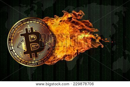 3d Rendering Of A Bitcoin Flying And Engulfed In Trailing Flames With Sparks Flying On A Background
