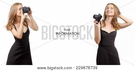 Young Woman With Photo Camera Smile Dreaming Set Pattern On White Background Isolated
