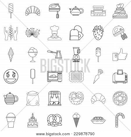 Caramelize Icons Set. Outline Set Of 36 Caramelize Vector Icons For Web Isolated On White Background