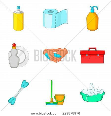 Toiletry Icons Set. Cartoon Set Of 9 Toiletry Vector Icons For Web Isolated On White Background