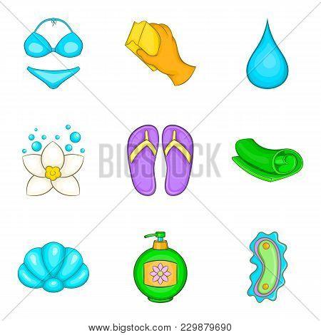 Bathroom Unit Icons Set. Cartoon Set Of 9 Bathroom Unit Vector Icons For Web Isolated On White Backg