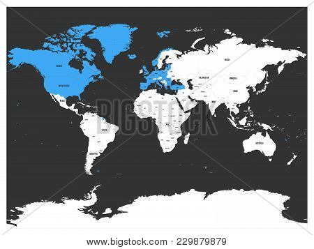 North Atlantic Treaty Organization, Nato, Member Countries Highlighted By Blue In World Political Ma