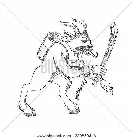 Doodle Art Illustration Of A Krampus, A Horned, Anthropomorphic Figure That Is Half-goat, Half-demon