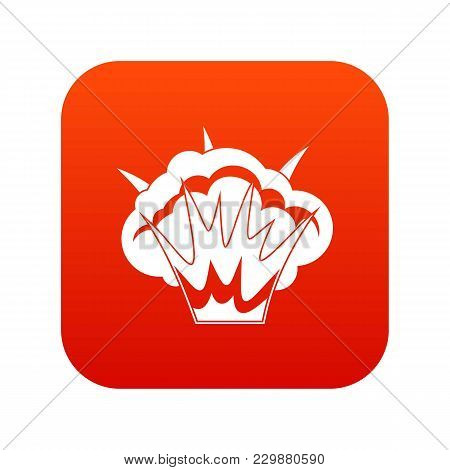 Projectile Explosion Icon Digital Red For Any Design Isolated On White Vector Illustration