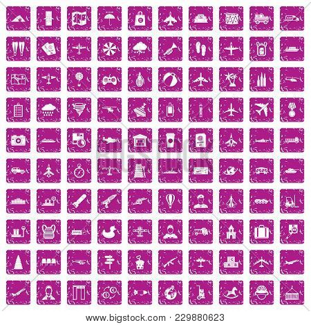 100 Plane Icons Set In Grunge Style Pink Color Isolated On White Background Vector Illustration