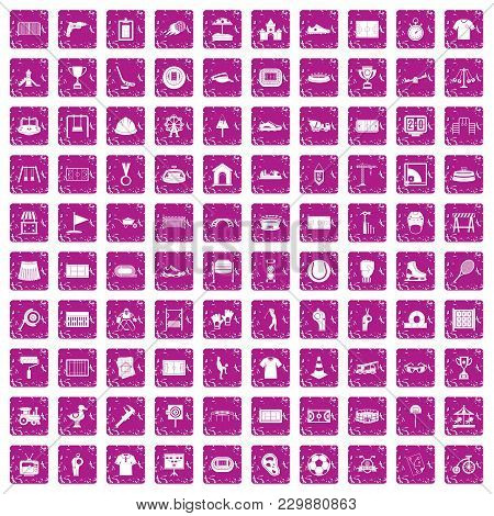 100 Playground Icons Set In Grunge Style Pink Color Isolated On White Background Vector Illustration