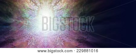 Enlightenment Concept Background Banner - Intricate Symmetrical Multi-coloured Shell Mosaic Pattern
