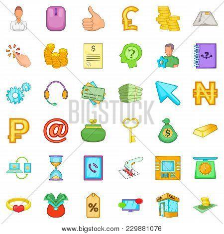 Money Balance Icons Set. Cartoon Set Of 36 Money Balance Vector Icons For Web Isolated On White Back