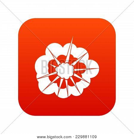 Cloudy Explosion Icon Digital Red For Any Design Isolated On White Vector Illustration