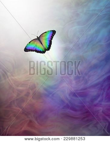 Soul Release Metaphor For Passing Over To The Afterlife - Lone Rainbow Coloured Butterfly Moving Up