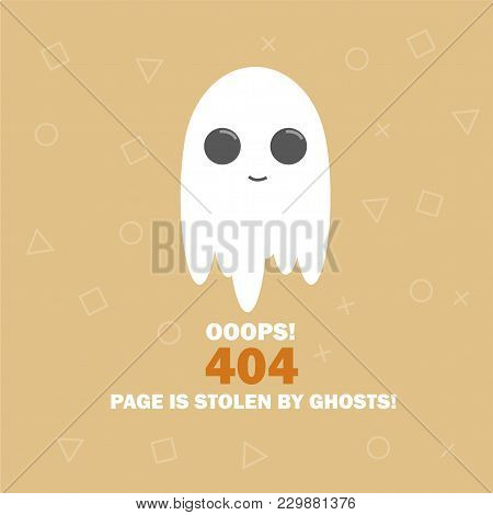 404 Error The Page Not Found With Cartoon Cute Ghost