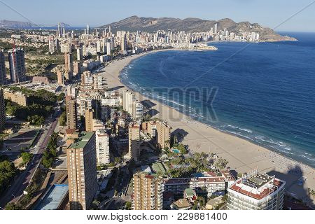 Benidorm Tourisctic Coastal Town In Alicante, Spain