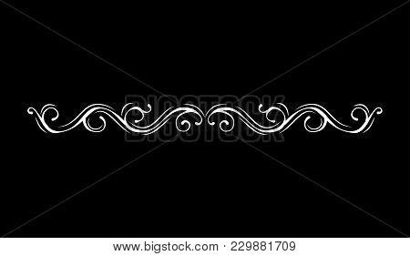 Vintage Vector Line Element. Calligraphic Decorative Divider Border Swirl Scroll Monogram Frames. Is
