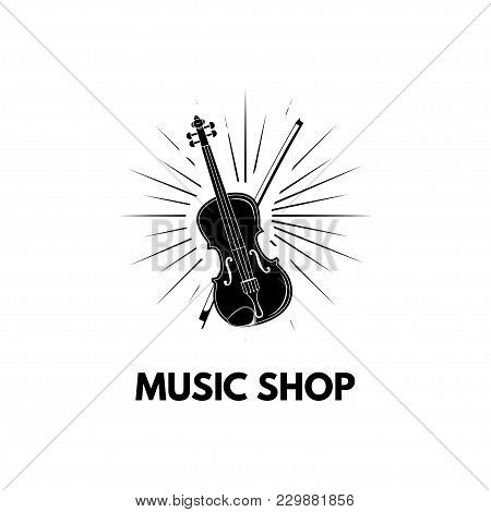 Violin In Beams Icon Illustration. Violin With Bow. Music Shop Label. Vector Illustration Isolated O