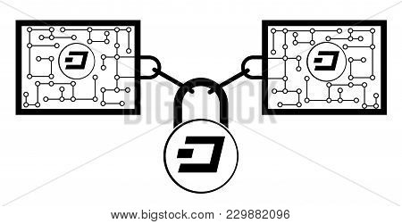 Dash Block Chain Technology Icon,vector Disign,disign Concept On A White Background ,interlocking Th
