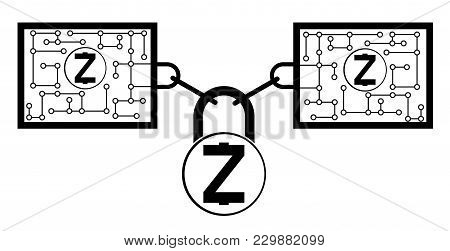 Zcash Block Chain Technology Icon,vector Disign,disign Concept On A White Background ,interlocking T