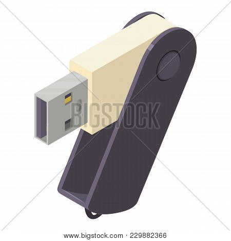Portable Flash Drive Icon. Isometric Illustration Of Portable Flash Drive Vector Icon For Web