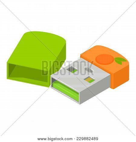 Mini Flash Drive Icon. Isometric Illustration Of Mini Flash Drive Vector Icon For Web
