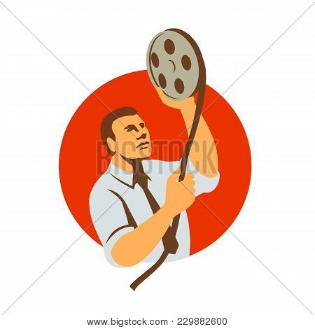 Retro Style Illustration Of A Film Editor Holding A Film Canister Looking At Film Reel And Editing R