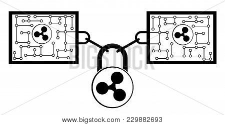 Ripple Block Chain Technology Icon,vector Disign,disign Concept On A White Background ,interlocking