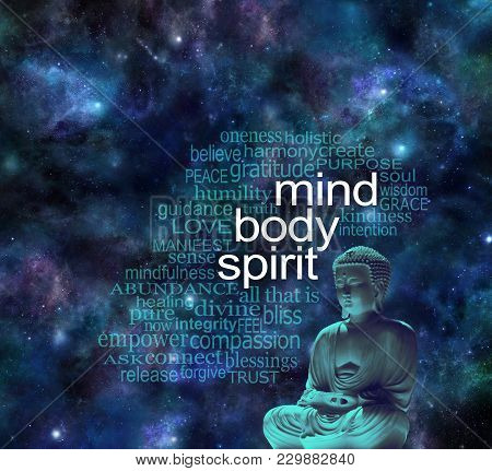Mind Body Spirit Cosmic Buddha Word Cloud - Buddha In Meditative Lotus Position Next To The Words Mi